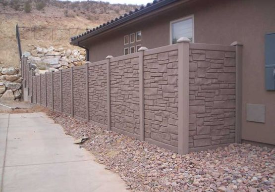 tan stone fence wall