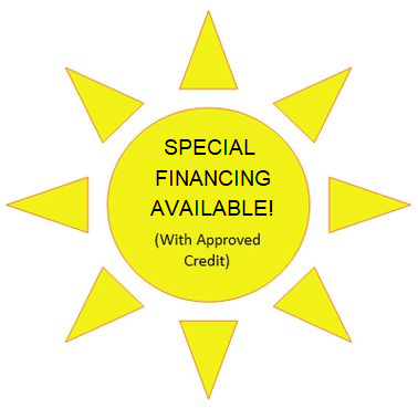 sun image with text special financing available